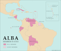 Map of the Bolivarian Alliance for the Americas (ALBA), including new member Saint Lucia
