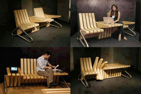 coffee bench is by u0027design at sourceu0027 is a furniture system with adjustable seat and table space within space of seat an table is adjusted by rotating