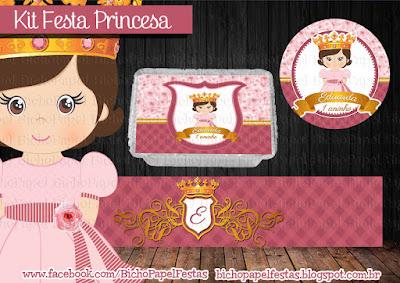 Kit Festa Princesa rosa coroa 1 aninho