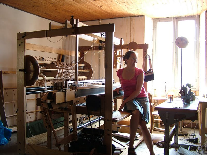 Artist Alexandra Ritchie of Byloom & Hyde at her loom.
