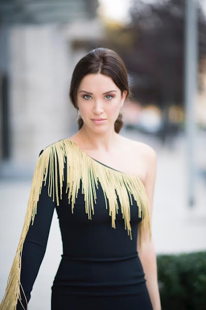 Melissa Bolona beautiful black dress