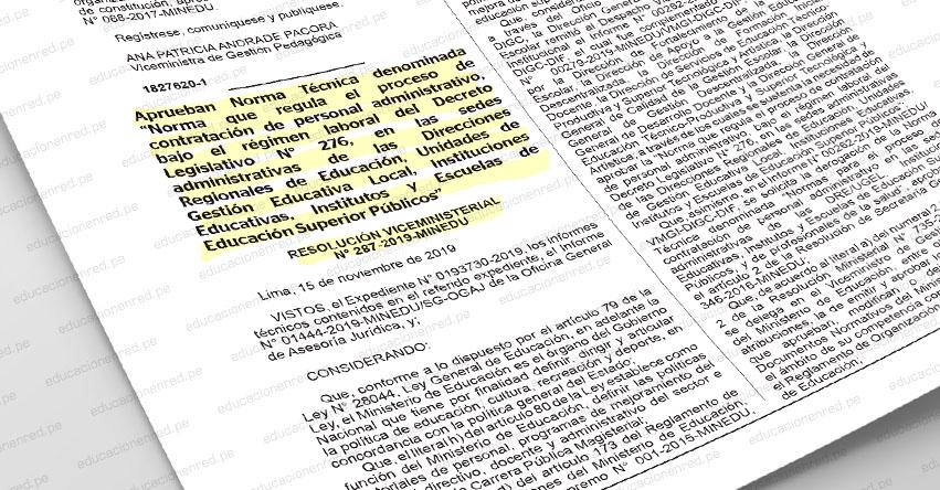 MINEDU aprueba norma que regula el proceso de contratación del personal administrativo de las IE, DRE, UGEL, Institutos y Escuelas de Educación Superior Públicos (R. VM. N° 287-2019-MINEDU)