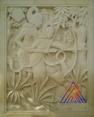 ukiran relief srikandi batu alam paras jogja/batu putih