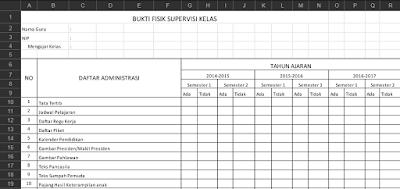 Download Bukti Fisik Supervisi Kelas Lengkap Terbaru 2017