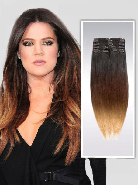 16 Inch Aura Straight Clip In Hair Extensions Three Tone Ombre 9 Pieces –Price: $59.95
