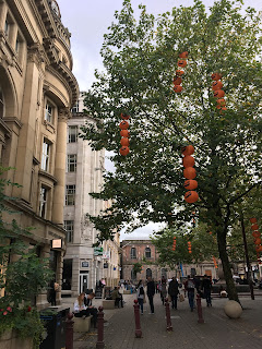 Manchester City Centre, St Anne's Square, pumpkins in trees
