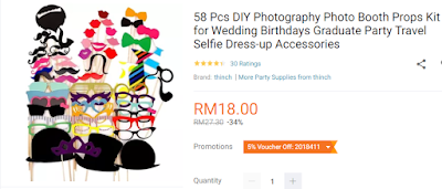 Lazada Birthday Festival Blogger Contest, Birthday Festival Sale, Lazada Malaysia, Anniversary Lazada Yang Ke - 6, Blogger Contest By Lazada, April, 2018, DIY Photography Photo Booth Props Kit For Birthday Party,