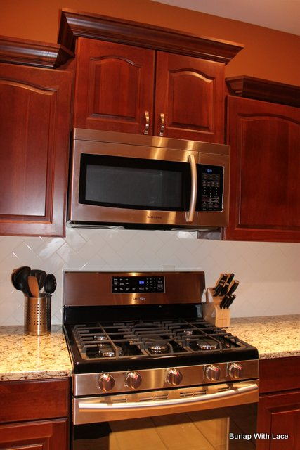 microwave kitchen cabinet home decor burlap with lace: april 2013