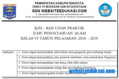 Kisi-kisi Ujian Praktek IPA SD/MI Tahun 2019