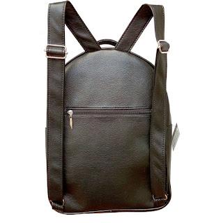 Mochila XL Cuero Eco Bolsillo Aro en Color Negro Blanco y Suela Vista Espalda