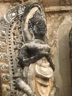 Thailande, sukhothai, temple, ou dormir, scooter, bouddha géant