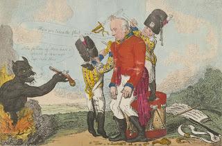 Una caricatura que muestra la degradación de Whitelocke luego de la corte marcial