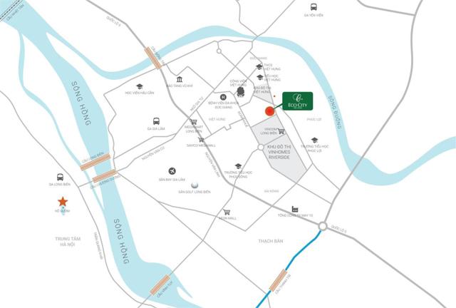 Vị trí dự án Eco City Việt Hưng Long Biên