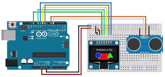 Circuito Arduino Uno e display Oled Colorido