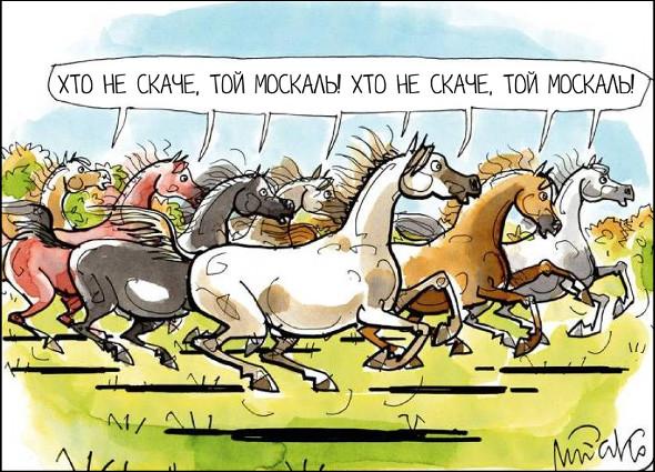 Коні скачуть і співають: - Хто не скаче, той москаль! Гумор, карикатури, картинки, юмор