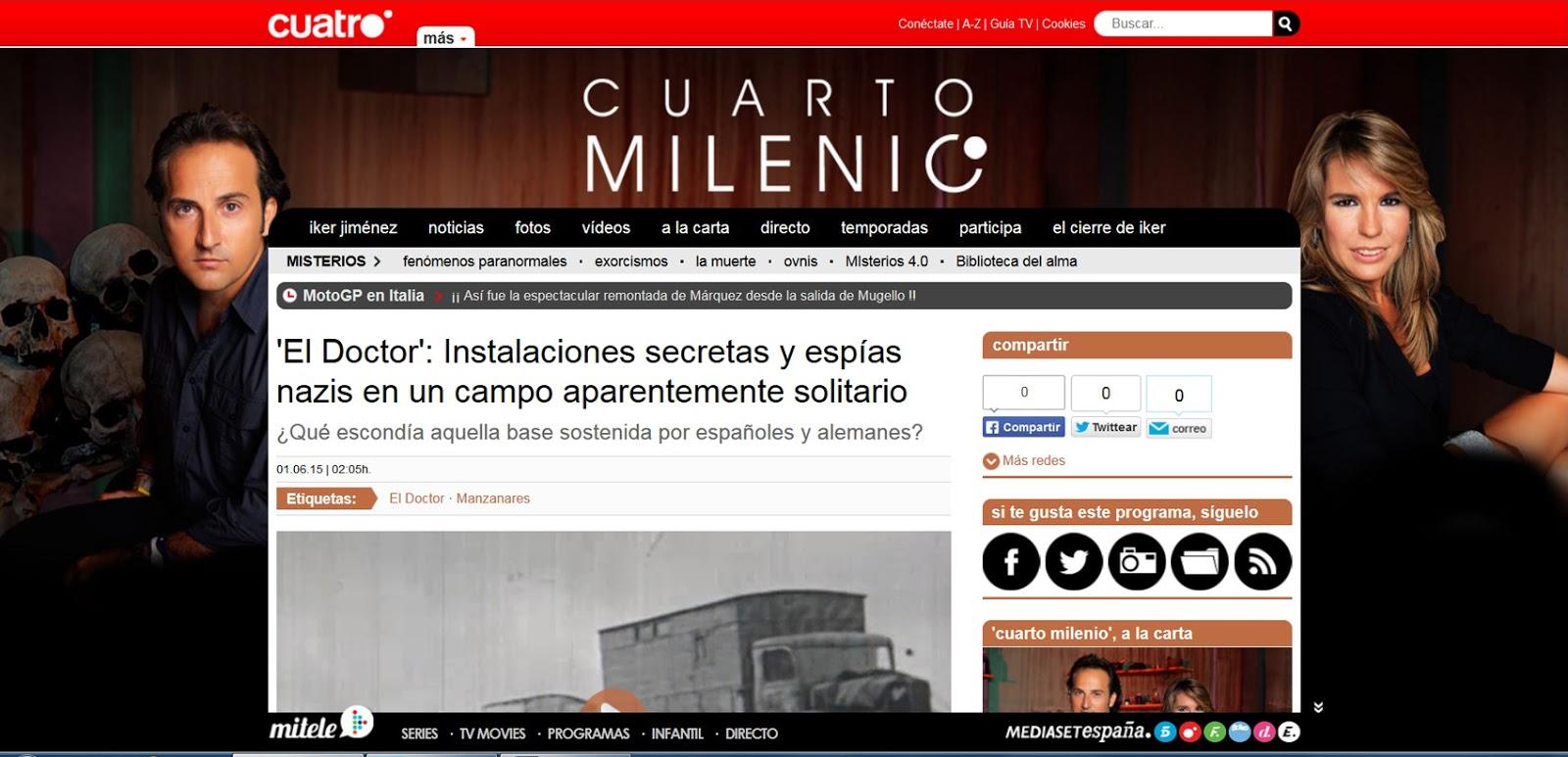 """Manzanares en Imágenes: El programa """"Cuarto Milenio"""" que ..."""