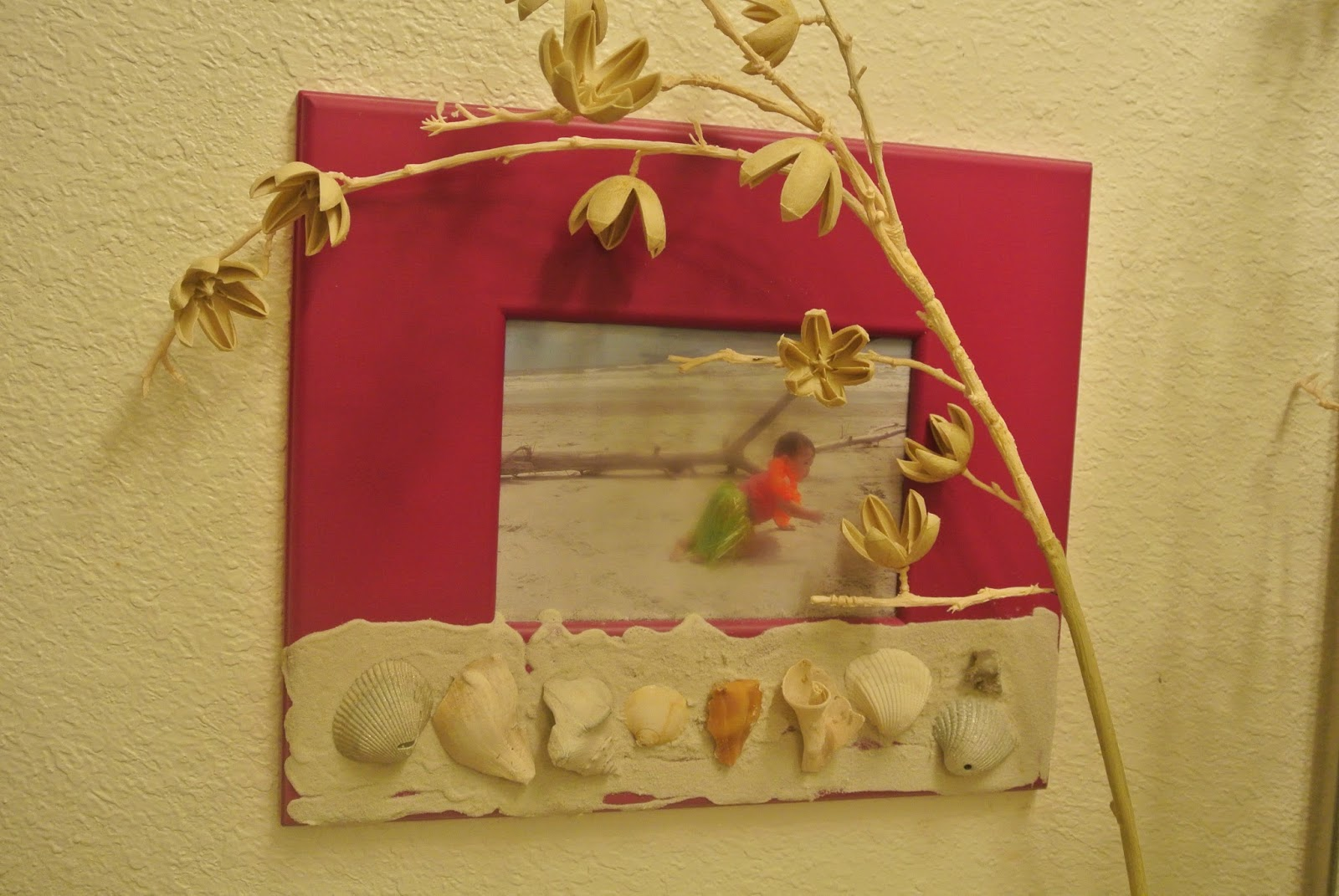 Sea shell home decor, beach shells picture frame