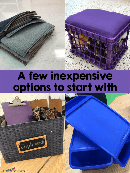 Have you wanted to try flexible seating in your classroom but don't what to spend a fortune?  This post will show you how to get started with flexible seating in your classroom using inexpensive items you may already have.  It also provides helpful tips about management strategies and an anchor chart to get started.
