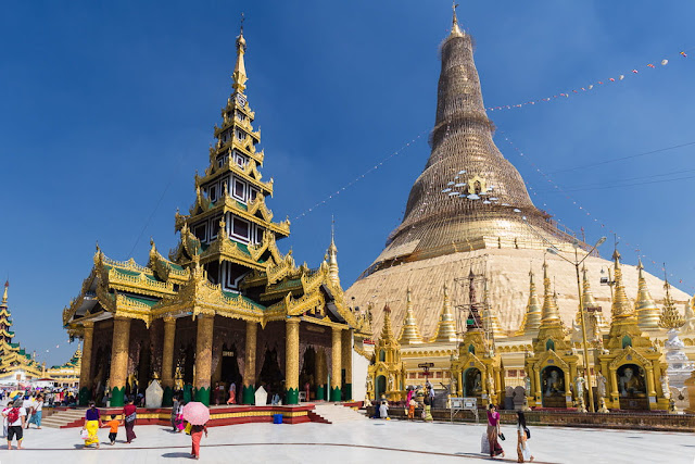 Pagoda Shwedagon en Yangon, Myanmar