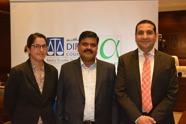 rom Left to Right(: Mahika Hart, Case Progression Officer, DIFC Courts, Murugesan Vaithilingam, Services Director, Alpha Data, and Farid Abo El Fotouh, Services Director, Alpha Data