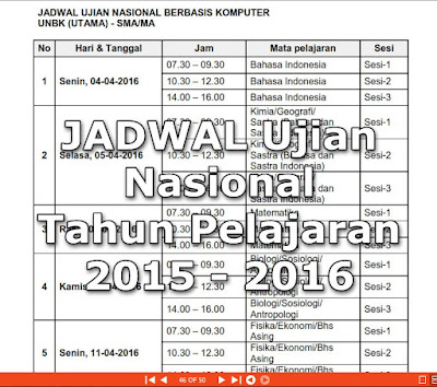 Jadwal Pelaksanaan Ujian Nasional ( UN ) 2016 SMP/MTs, SMA/SMK/MA