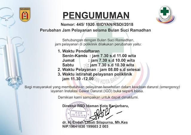 Pengumuman RSD Idaman Kota Banjarbaru