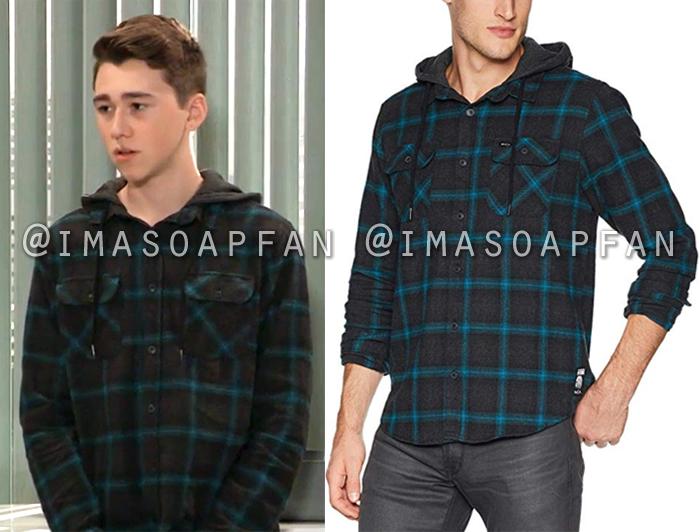 Oscar Nero, Oscar Nero, Black and Blue Hooded Flannel Shirt, General Hospital, GH