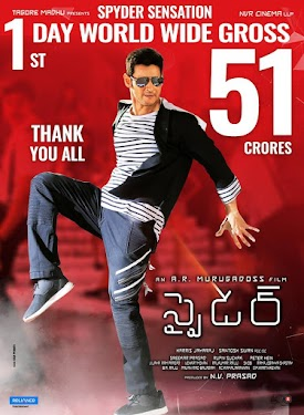 Mahesh Babu, Rakul Preet Singh Tollywood (Tamil and Telugu) Movie Spyder is worldwide box office collection 100 Crore Plus, Its collect 50.18 crore in india. Its one of Mahesh Babu Big of all time