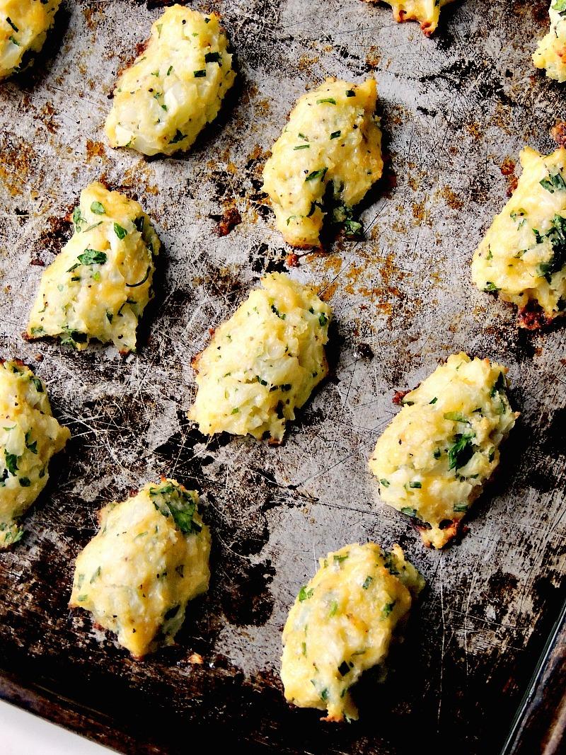 Cheesy Baked Cauliflower Tots aka Cauli-tots from www.bobbiskozykitchen.com