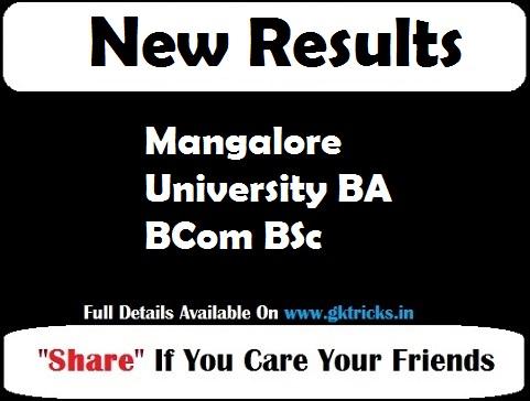 Mangalore University BA BCom BSc