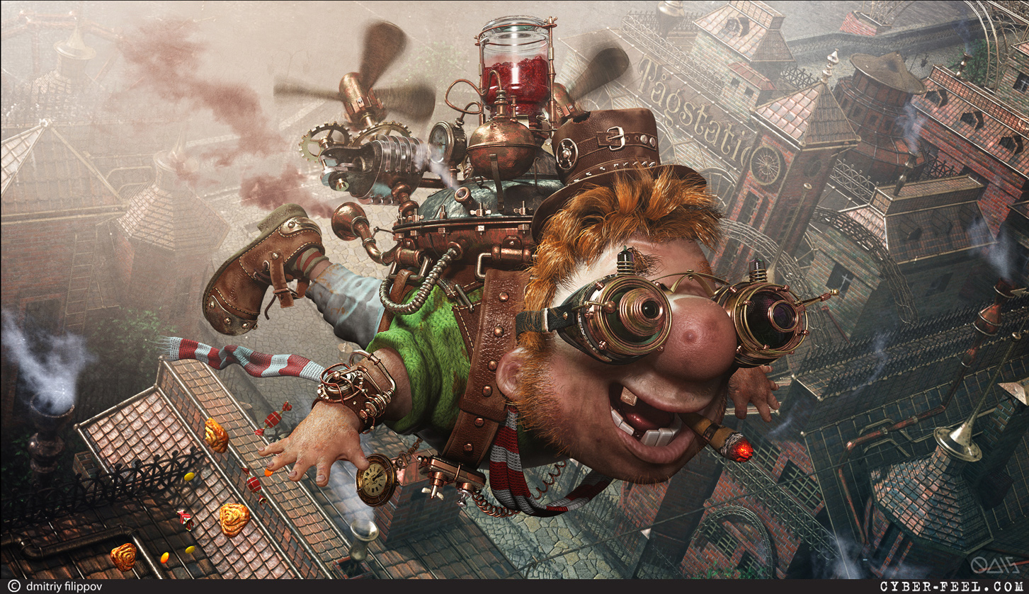 14-Karlsson-is-back-Karlsson-on-the-Roof-Dmitry-Filippov-Steampunk-Digital-Art-with-the-Zodiac-www-designstack-co