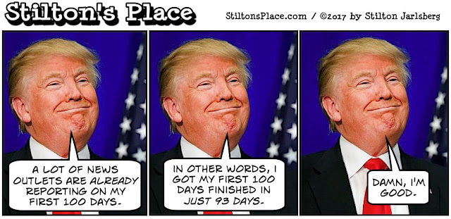 stilton's place, stilton, political, humor, conservative, cartoons, jokes, hope n' change, first 100 days, trump administration, MOAB, O'Reilly, Clinton