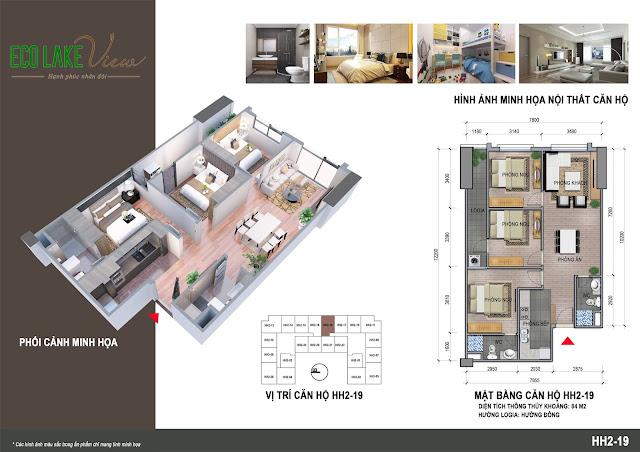 Thiết kế căn hộ 19 tòa HH-02 Eco Lake View