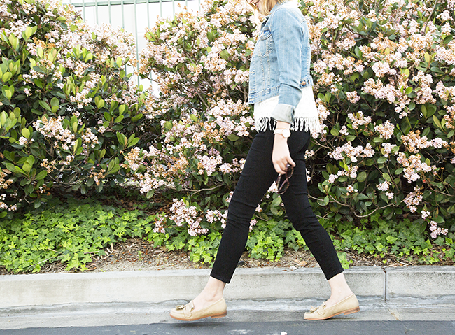 Outfit: H&M denim jacket with mid-rise black jeans and JustFab Joss loafers