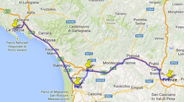 Mapa de viagem de trem de Pisa à Florença
