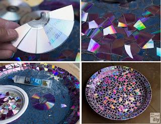 Membuat Piring Hias Dengan Piringan CD Bekas