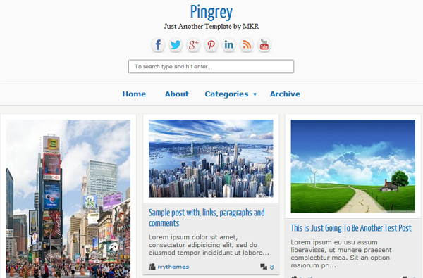 Pingrey Blogspot Template