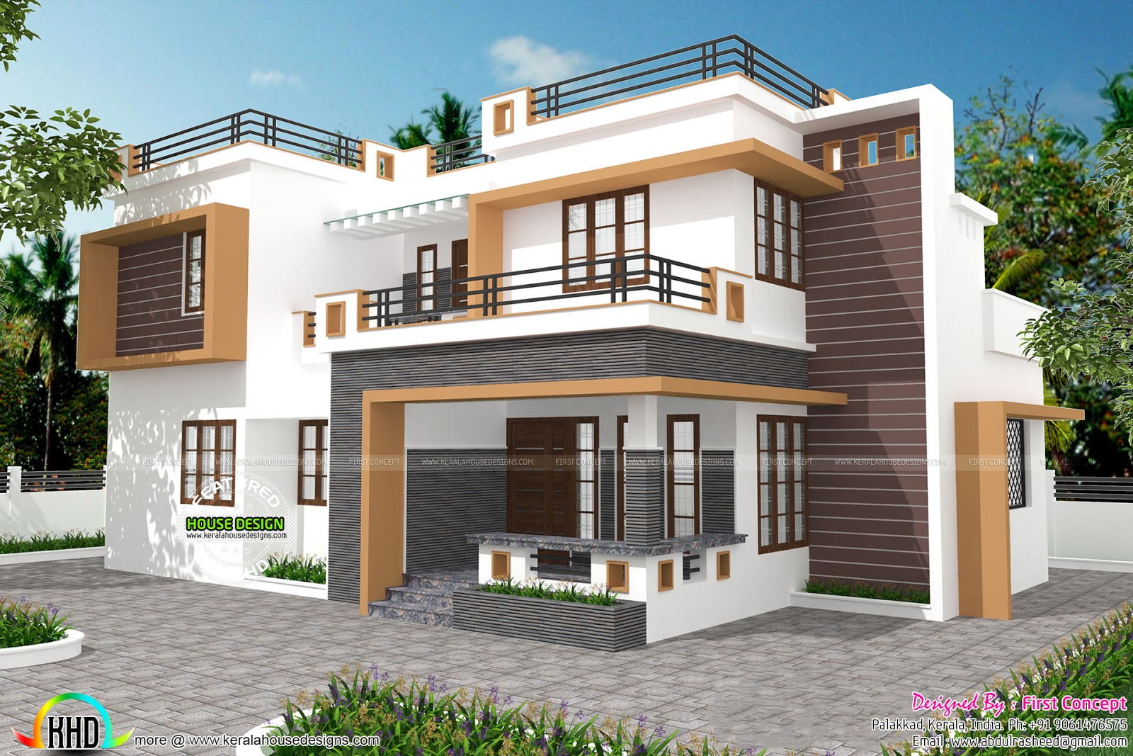 Contemporary home design by first concept palakkad for Contemporary style homes in kerala
