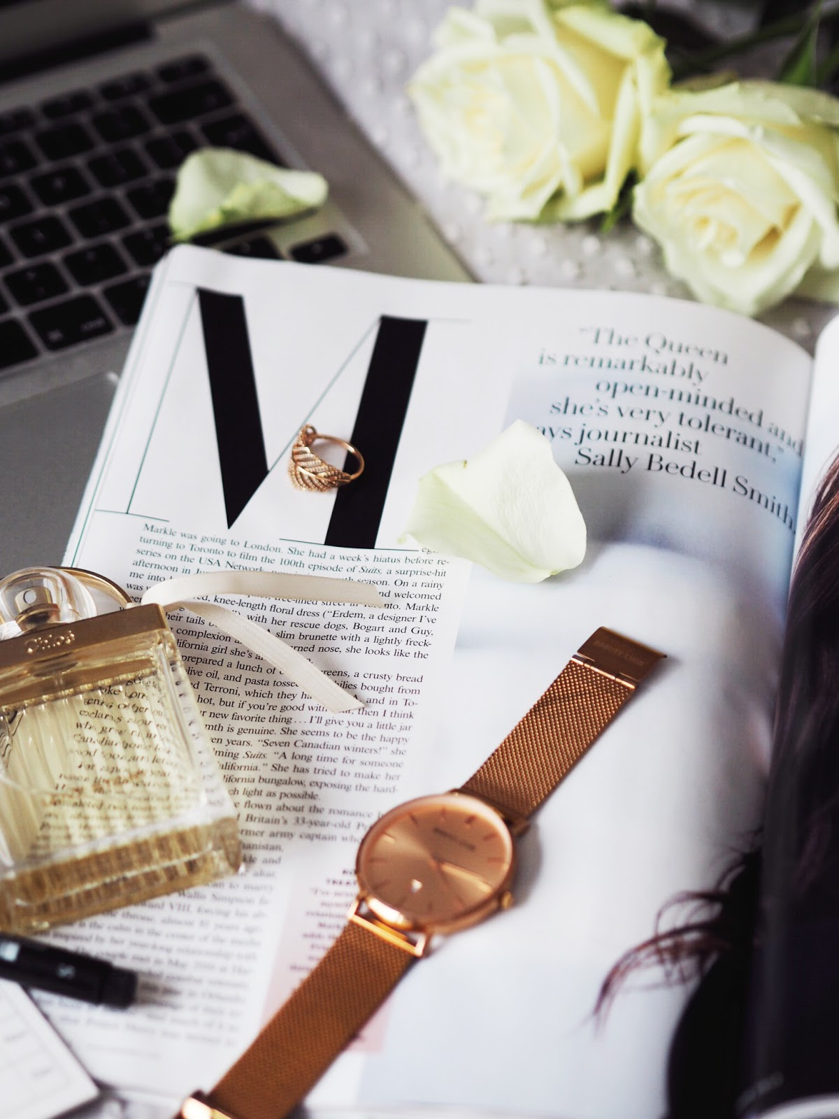 Blog Help | The Realities of Blogging Alongside a Full Time Job Rose Gold Watch Perfume MacBook