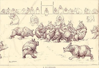 Rhino scrimmage, by Louis Wain