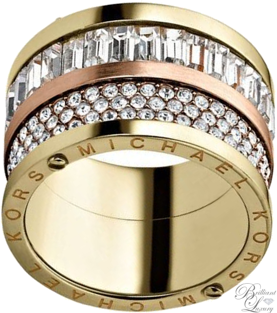 Brilliant Luxury ♦ Michael Kors Pavé-Embellished Two-Tone Barrel Ring