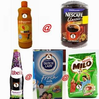 Sunquick, nescafe, ribena, susu atau milo untuk melembapkan biskut