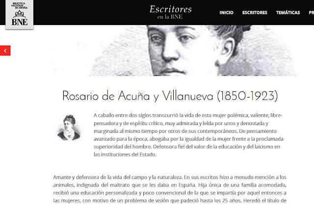 Imagen del espacio dedicado a Rosario de Acuña en el portal Escritores de la BN