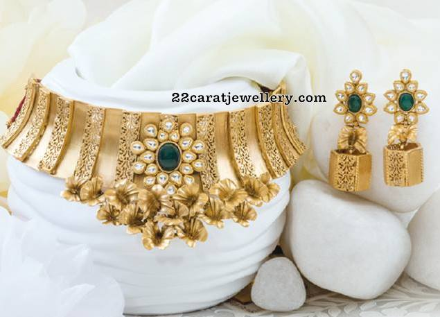 Antique Fancy Choker Pachi Jhumkas