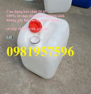 Can nhựa đựng hóa chất tại Hà Nội, có nắp chống tràn, garenty, cung cấp can nhựa cũ đựng hóa chất