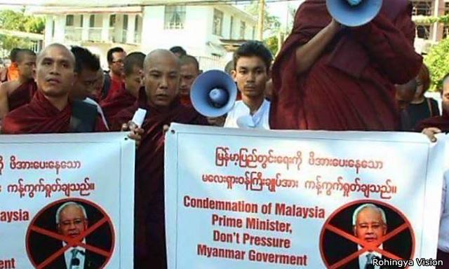 Sami Buddha Protes Najib Depan Kedutaan Malaysia Di Myanmar
