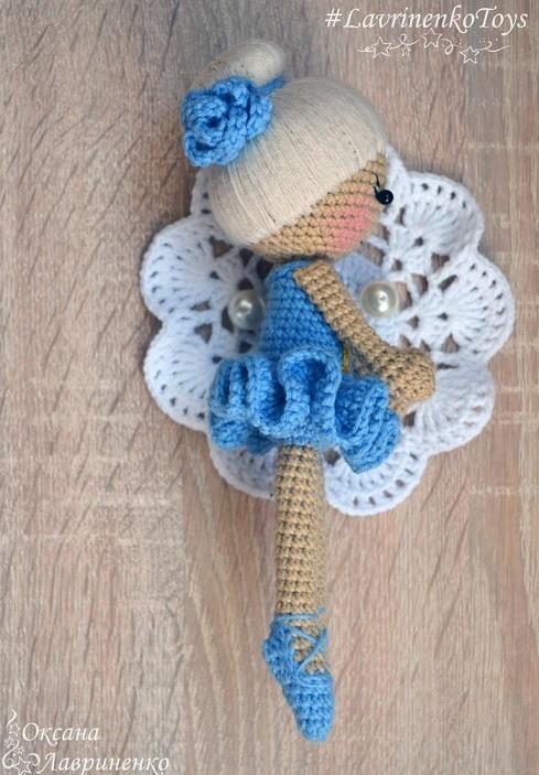 Вязаная кукла балерина амигуруми