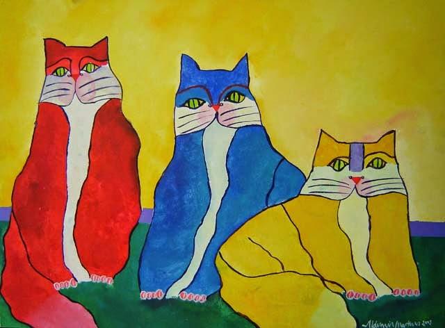 Três Gatos - Aldemir Martins e suas pinturas ~ O pintor de gatos