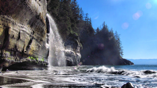 The waterfalls of Mystic Beach on Vancouver Island...