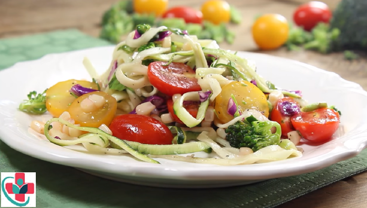 Healthy and tasty zucchini noodle salad dish!